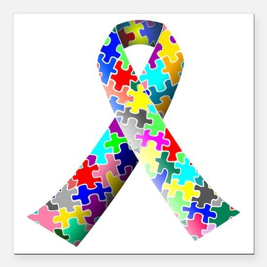 """autism awareness ribbon Square Car Magnet 3"""" x 3"""""""
