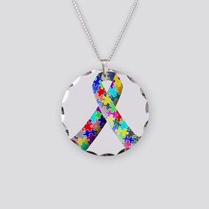 autism awareness ribbon Necklace Circle Charm