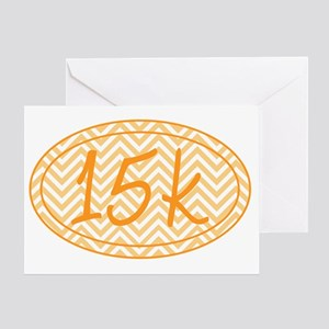 15k Orange Chevron Greeting Card
