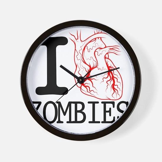 I Heart Zombies Wall Clock