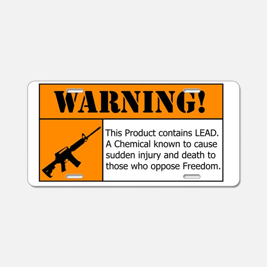 AR-15 Lead Warning Aluminum License Plate