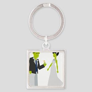 Frankenstein & Bride Square Keychain