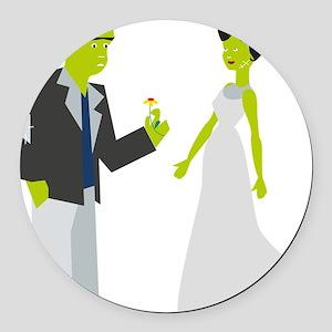 Frankenstein & Bride Round Car Magnet