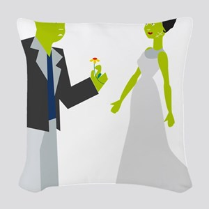 Frankenstein & Bride Woven Throw Pillow