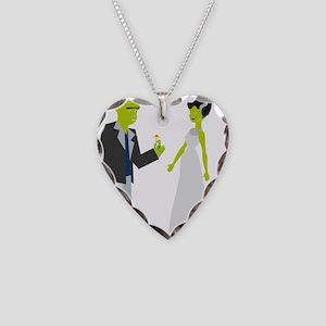 Frankenstein & Bride Necklace Heart Charm