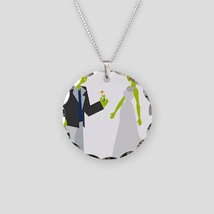 Frankenstein & Bride Necklace Circle Charm
