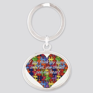 Autism Hands full, See my heart Oval Keychain