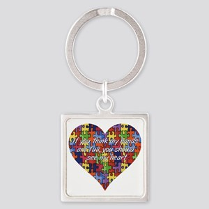 Autism Hands full, See my heart Square Keychain