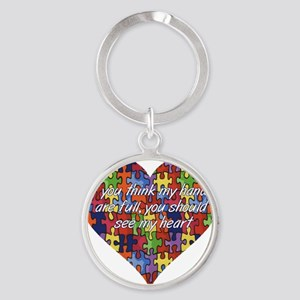Autism Hands full, See my heart Round Keychain