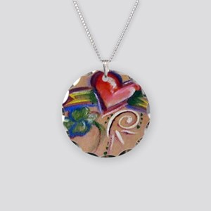 Heart Banner Necklace Circle Charm