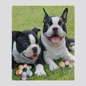Easter boston terriers Throw Blanket