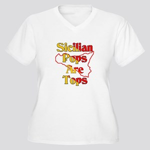 Sicilian Pops Are Tops Women's Plus Size V-Neck T-