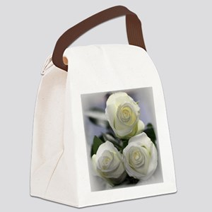 Three White Roses Canvas Lunch Bag