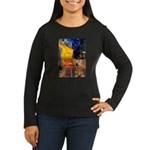 Cafe - Airedale (S) Women's Long Sleeve Dark T-Shi
