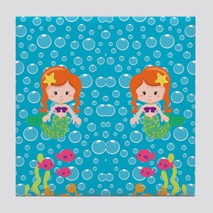 Mermaid With Red Hair Tile Coaster