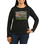 Lilies#2 & Airedale (S) Women's Long Sleeve Dark T