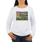 Lilies#2 & Airedale (S) Women's Long Sleeve T-Shir