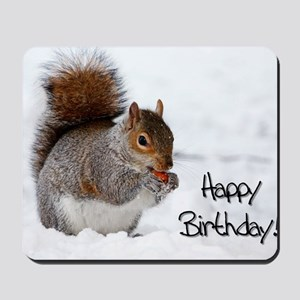 Happy Birthday Squirrel Mousepad