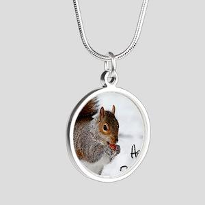 Happy Birthday Squirrel Silver Round Necklace