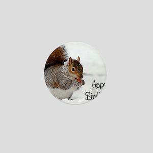 Happy Birthday Squirrel Mini Button