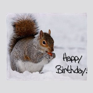 Happy Birthday Squirrel Throw Blanket