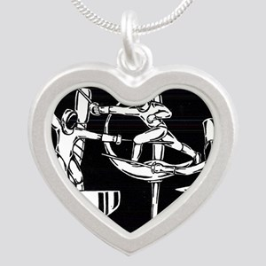 The Dance of Fencing Silver Heart Necklace
