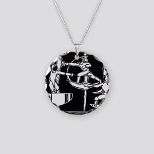 The Dance of Fencing Necklace Circle Charm