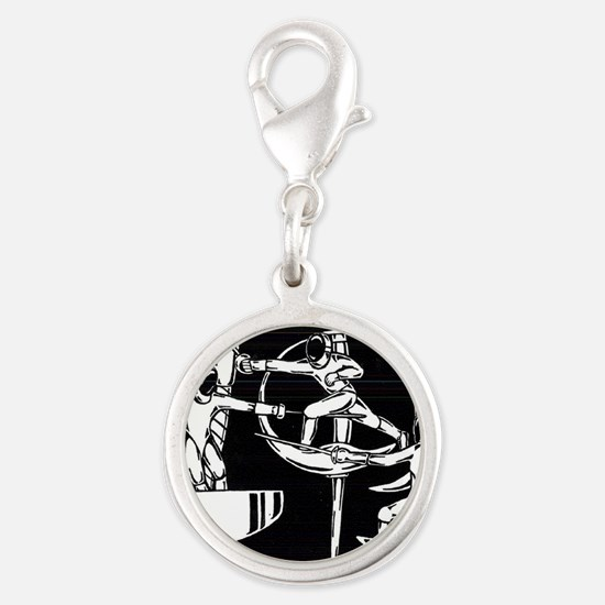 The Dance of Fencing Silver Round Charm