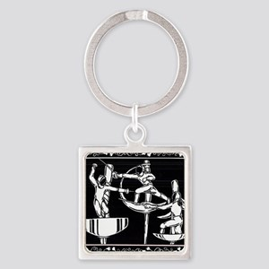 The Dance of Fencing Square Keychain