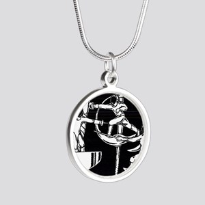The Dance of Fencing Silver Round Necklace