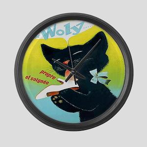 Vintage Woly Black Cat Shoe Large Wall Clock