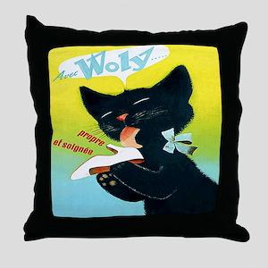 Vintage Woly Black Cat Shoe Throw Pillow
