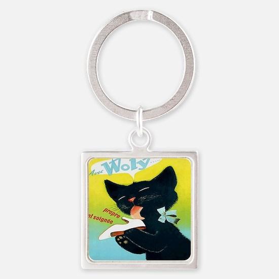 Vintage Woly Black Cat Shoe Square Keychain
