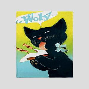 Vintage Woly Black Cat Shoe Throw Blanket