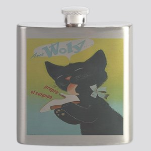 Vintage Woly Black Cat Shoe Flask