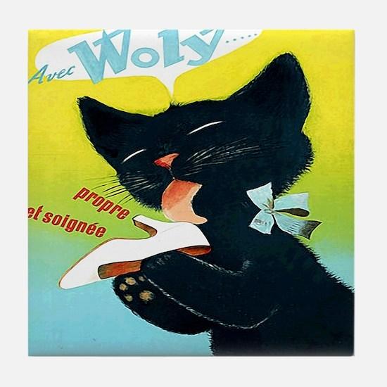 Vintage Woly Black Cat Shoe Tile Coaster