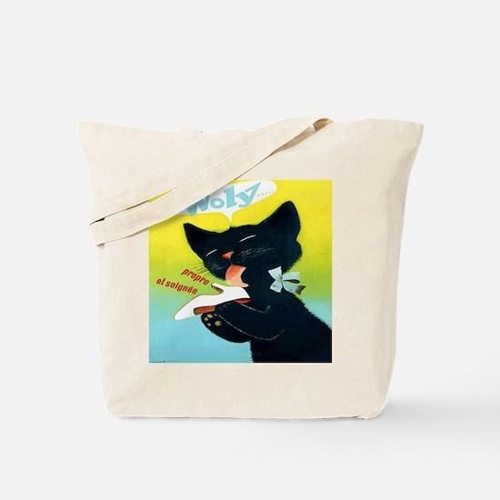 Vintage Woly Black Cat Shoe Tote Bag