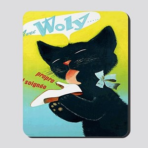 Vintage Woly Black Cat Shoe Mousepad