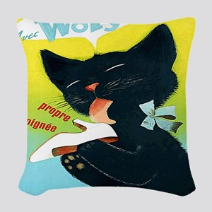 Vintage Woly Black Cat Shoe Woven Throw Pillow