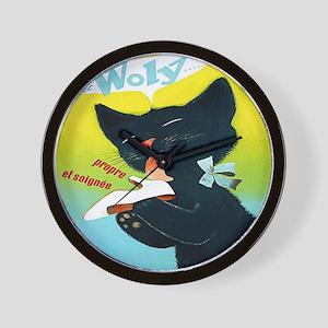 Vintage Woly Black Cat Shoe Wall Clock