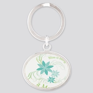 Bliss is being a mom blue flowers Oval Keychain