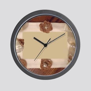 Cream Gold Flower Brooch Frame Wall Clock