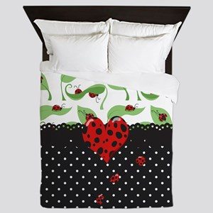 Ladybug Bliss Black Polka Dots Queen Duvet