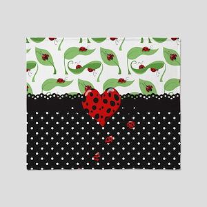 Ladybug Bliss Black Polka Dots Throw Blanket