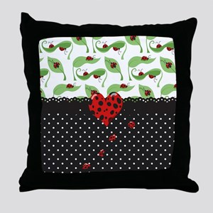 Ladybug Bliss Black Polka Dots Throw Pillow