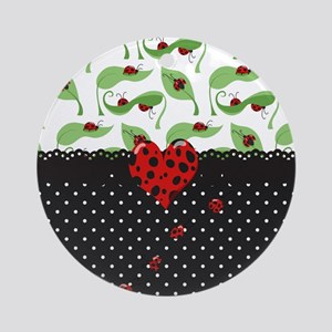 Ladybug Bliss Black Polka Dots Round Ornament