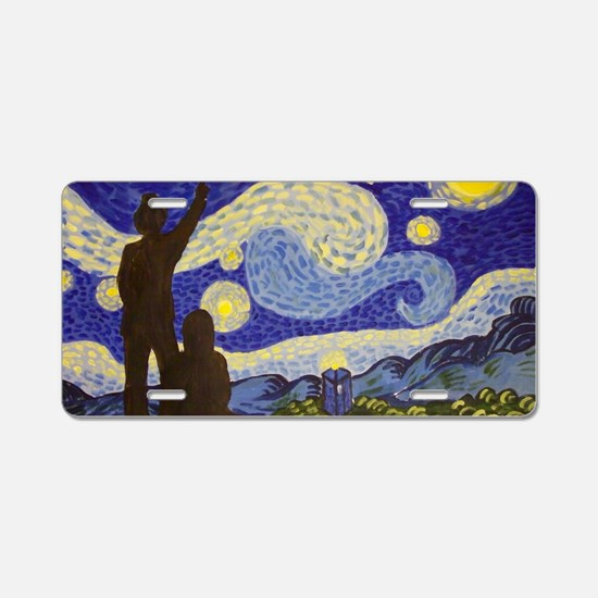 Phone Box Starry Night Aluminum License Plate