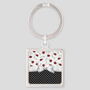 Ladybug Dreams Square Keychain