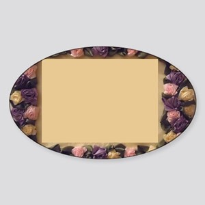 Pink Lilac Cream Ribbon Roses Pictu Sticker (Oval)