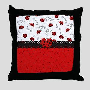 Ladybugs Dotty World Throw Pillow